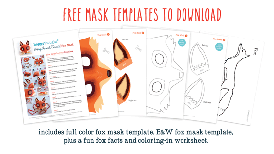 Fox mask template: Printouts + crafts to dress up parties + easy