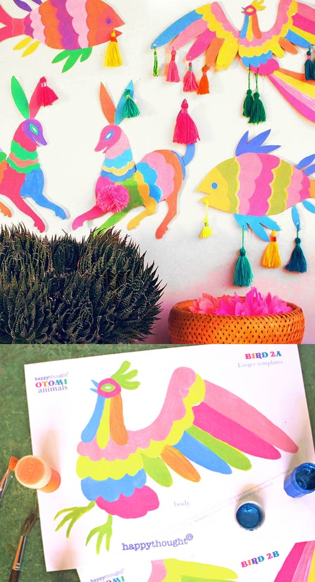 Get creative with our easy to make templates of a dog, bird and fish inspired by Mexican Otomi embroidery motifs