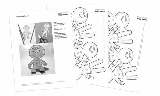 Gingerbread people holiday templates and instructions: Happythought Holiday craft activity pack: