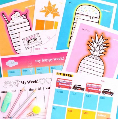 Great printable weekly planners featuring dinosaurs, milkshake, pineapple