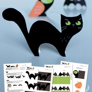 Easy make no-sew owl, bat and cat Halloween decorations!