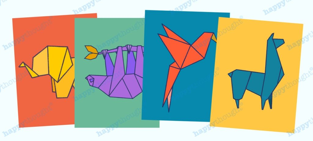 4 Printable origami animal Wall Art prints by Happythought