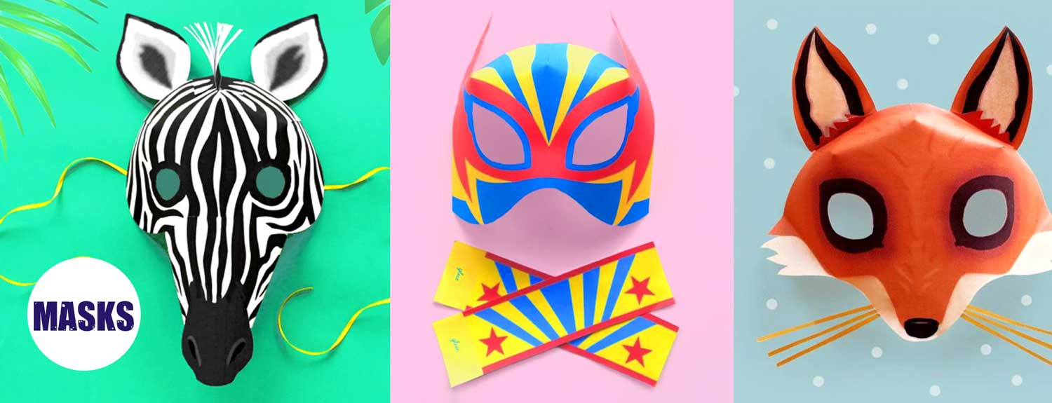 Mask templates to print and make at home or in class - Zebra, luchador and a fox.