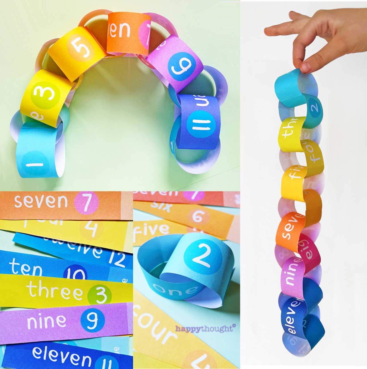 paperchain preschool printable homeschool activity fun worksheetsfrom Happythought