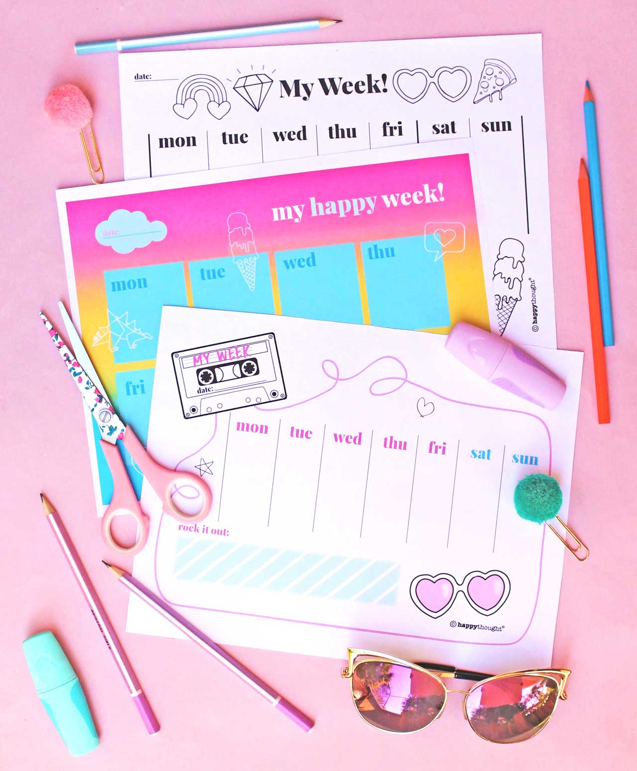 Happythought printable weekly planner template PDF on pink paper