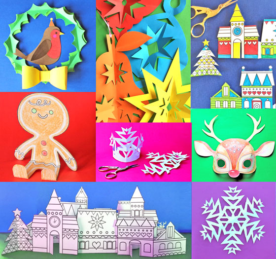 6 Happythought Holiday craft activity printable projects: Masks, decorations, crowns + cut out, color and play paper village!