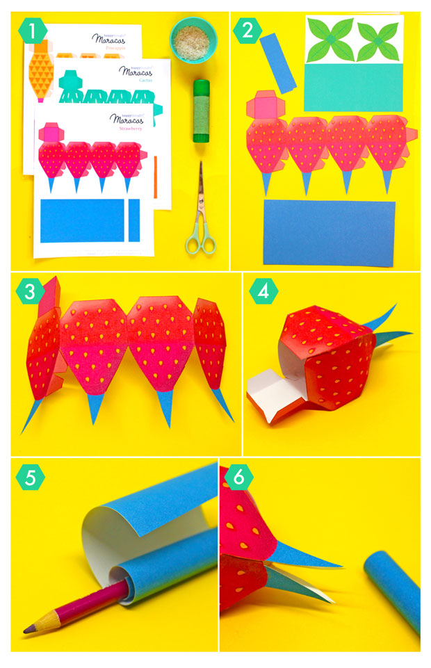 How to make DIY Fruity Maracas: Strawberry maraca with photo instruction tutorial - steps one to six