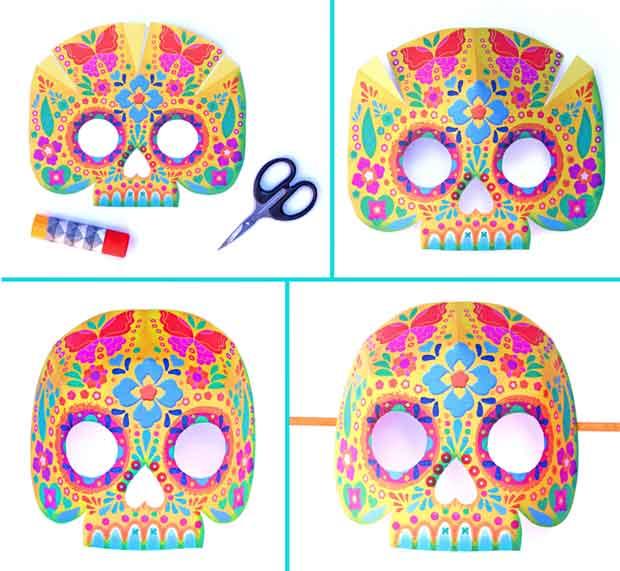 calavera sugar skull masks for day of the dead