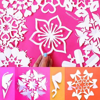 How to make a valentine snowflakes for St Valentines - 12 Valentine snowflake templates