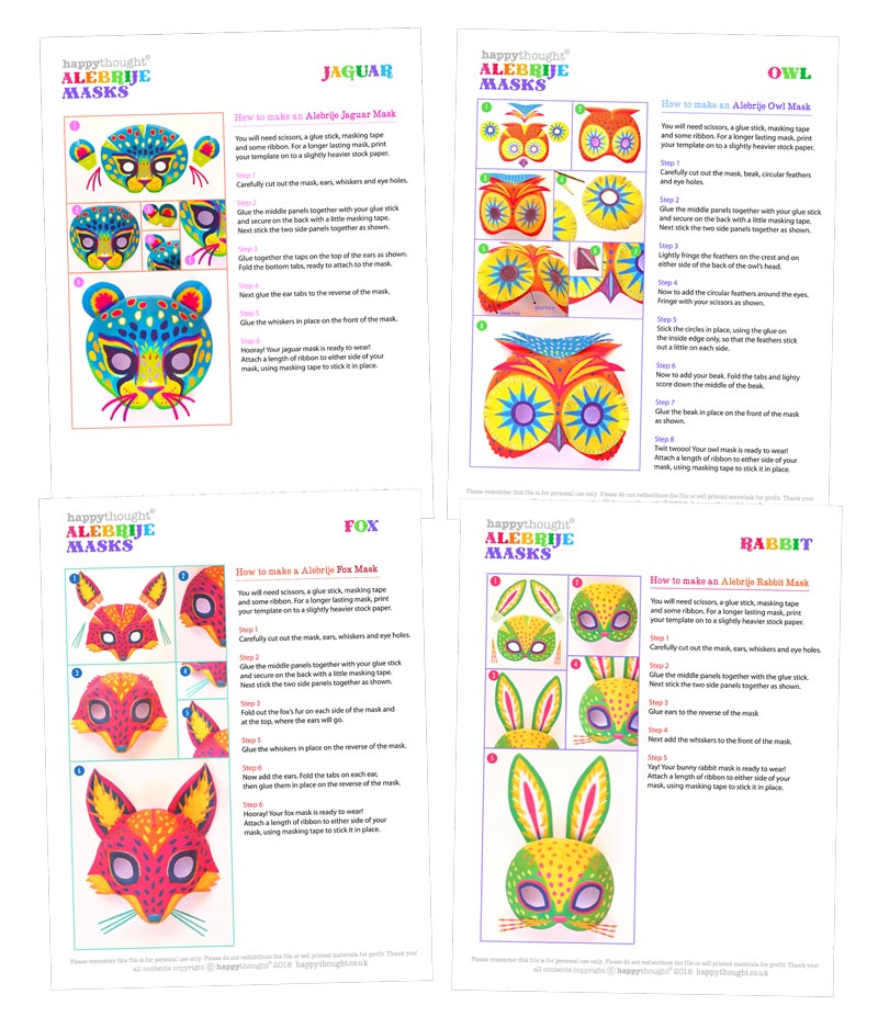 How to make printable Alebrije masks: templates and instructions