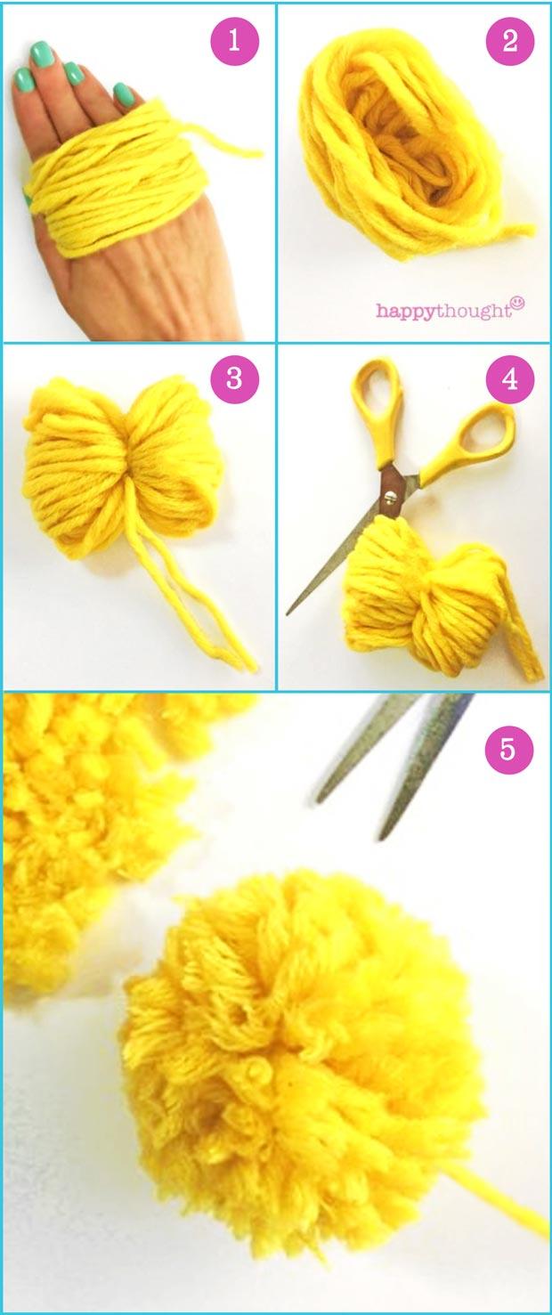 Cómo hacer un pompón fácil con lana y tijeras