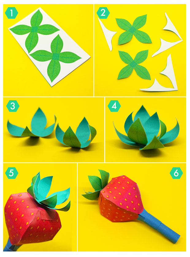 How to make tutorial on crafting paper leaves for a Strawberry maraca