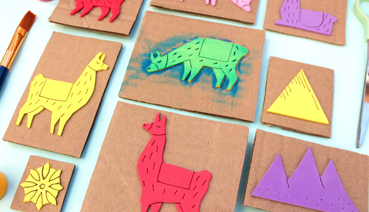 How to make llama diy stamps featured in Happythought's new book Llama Crafts