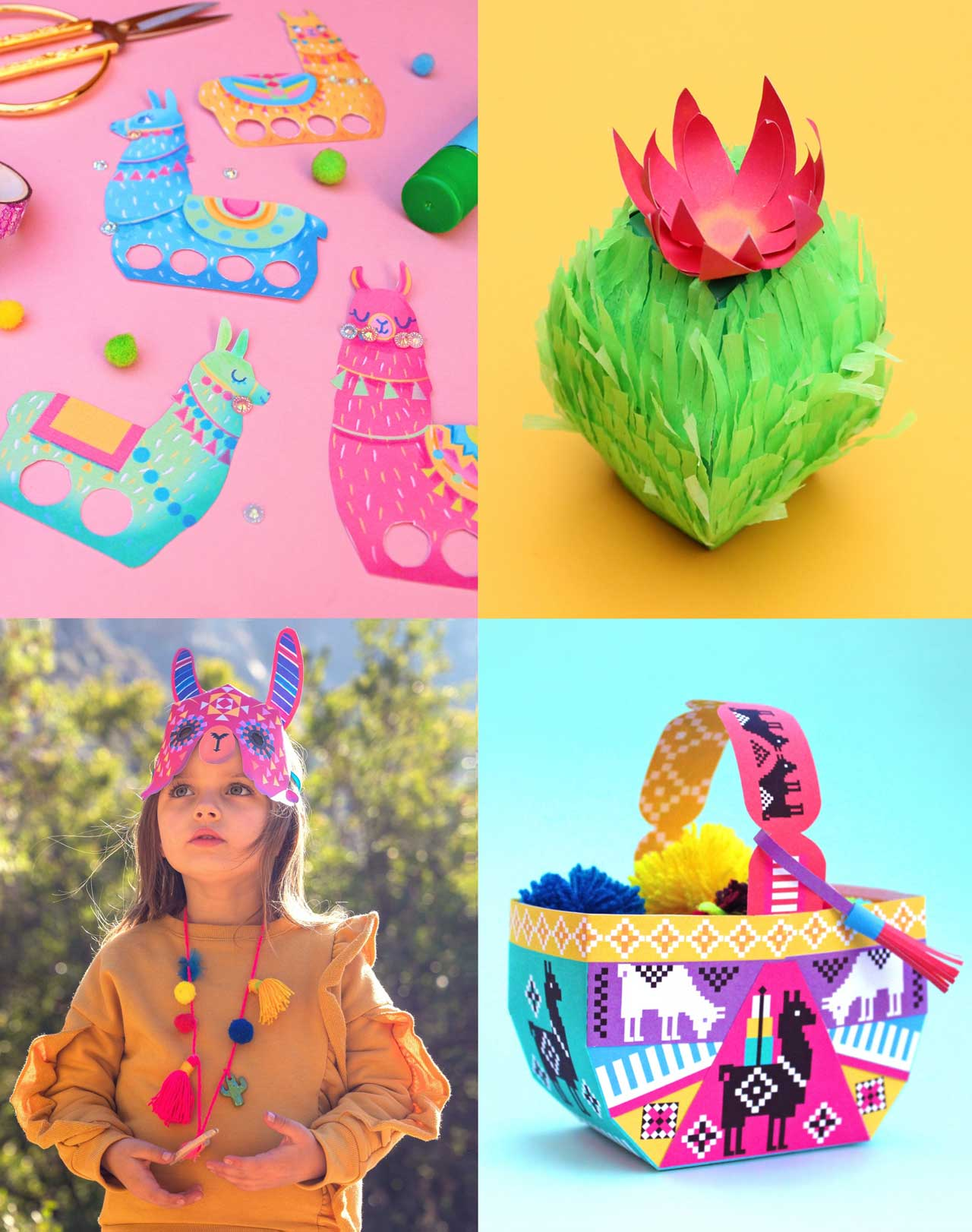 How to make pinata, llama finger puppets, masks and baskets from paper templates