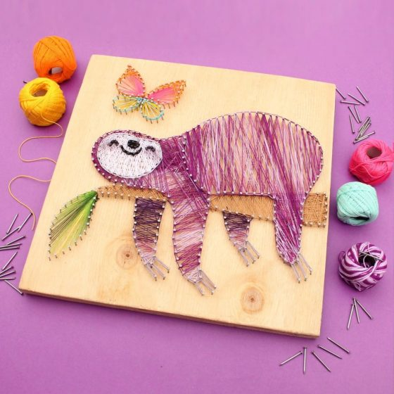 How to make string art - Great fun making this cute sloth