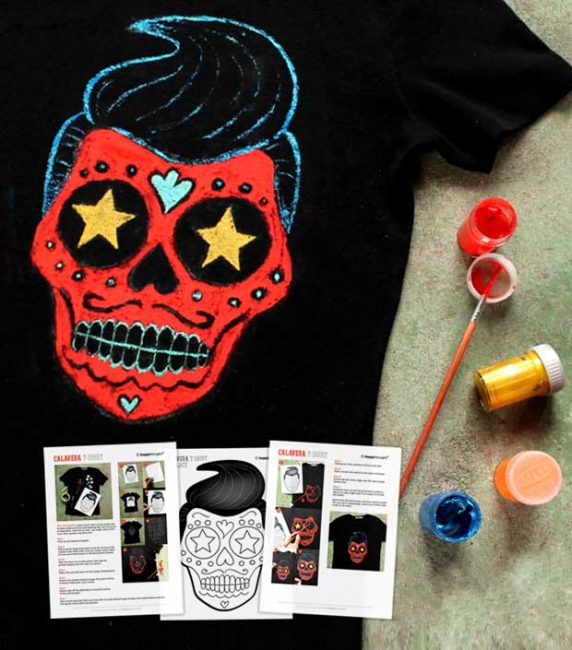 How to paint a Day of the Dead Calavera T-shirt template and tutorial