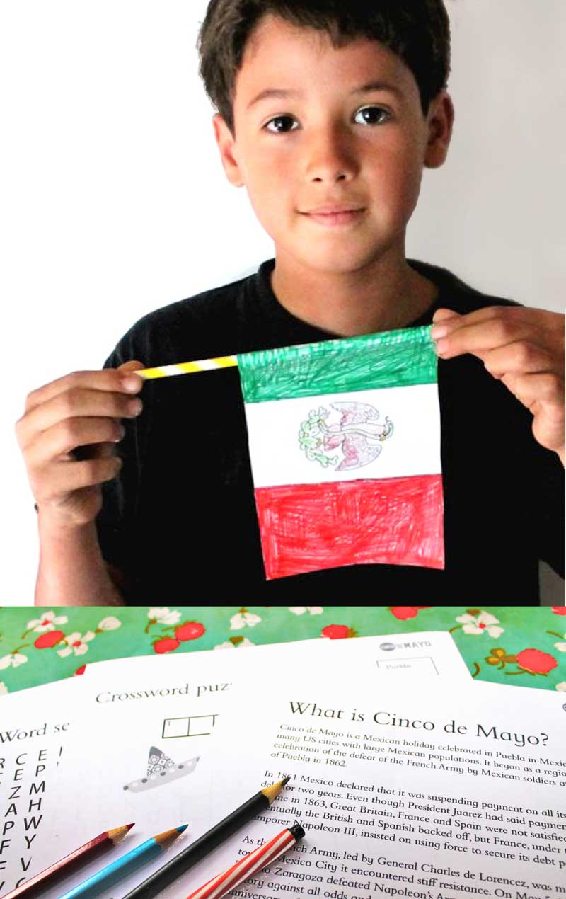 Learn about Cinco de Mayo and make Mexico flag worksheets