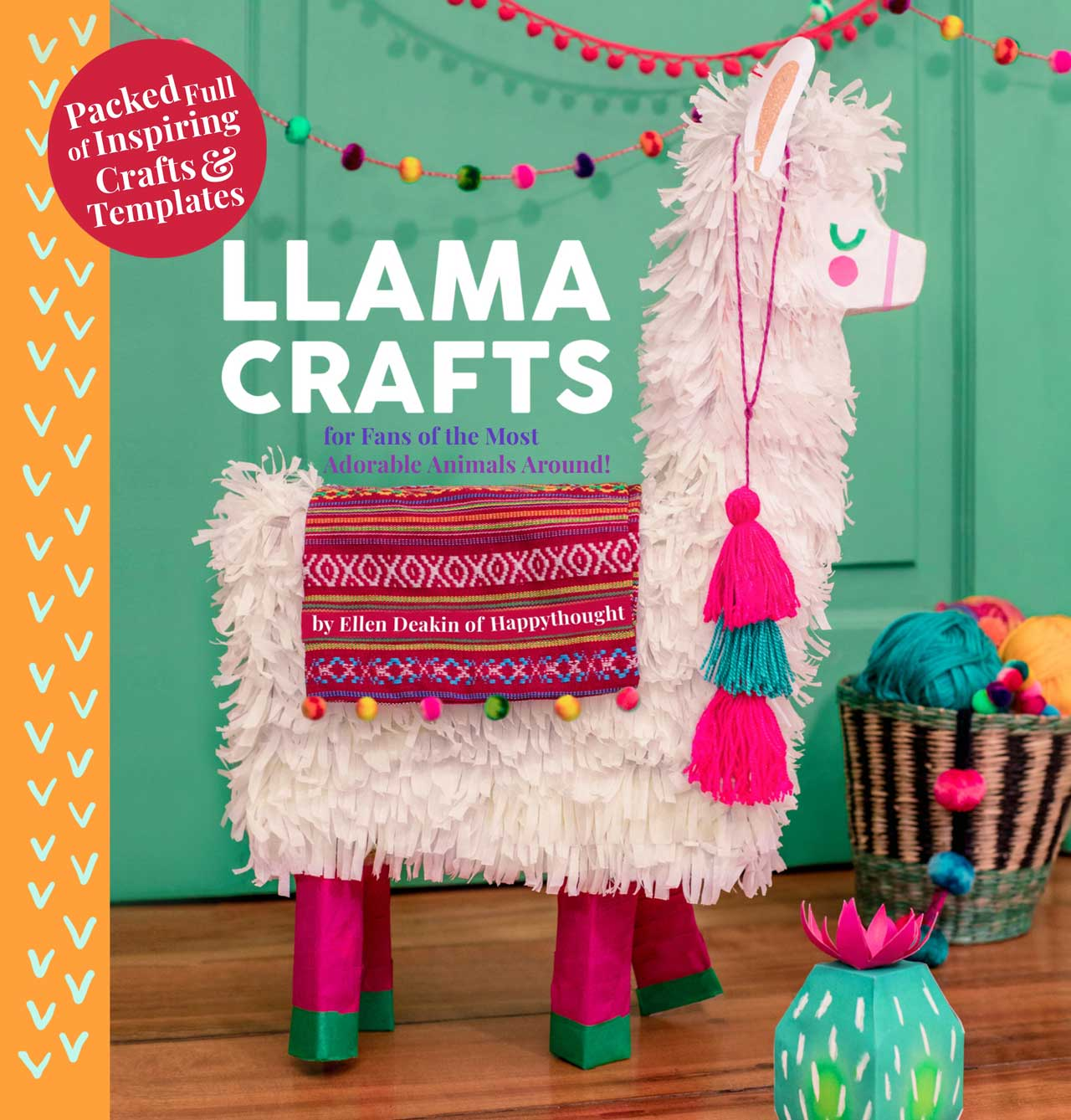 Llama crafts by Ellen Deakin from Happythought featuring 18 classic llama projects!