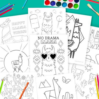 Llamas color in pages for a rainy day, at home or llama fun time