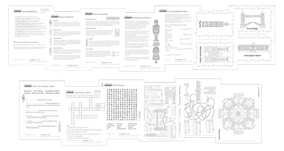 London printable activity sheets: Learn about some famous London landmarks and people!