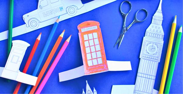 London printable activity sheets - Red London phone box paper craft color in activity for class - Learn a little about London