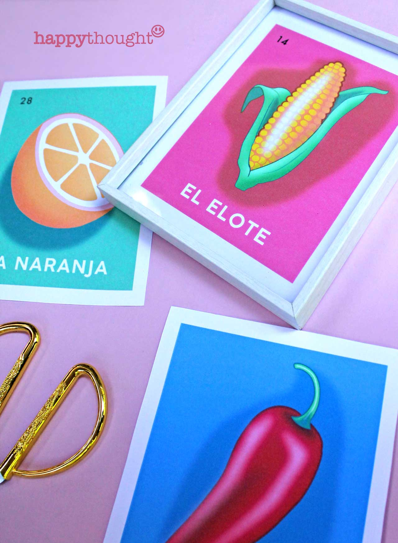 Loteria prints: Sandia, Aguacate, Jalepeño, Naranja, Piña and Elote.