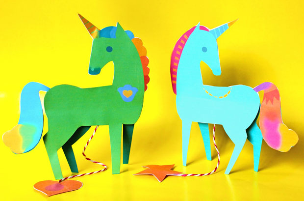 Make a DIY paper unicorn mobile. Easy and fun craft activity for the Holidays and Christmas!