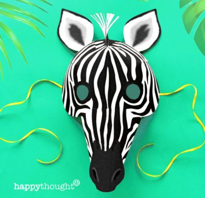 Make and wear your own DIY paper Zebra mask
