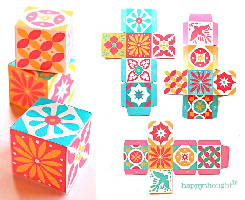 Make these cute paper talavera boxes photo step-by-steps