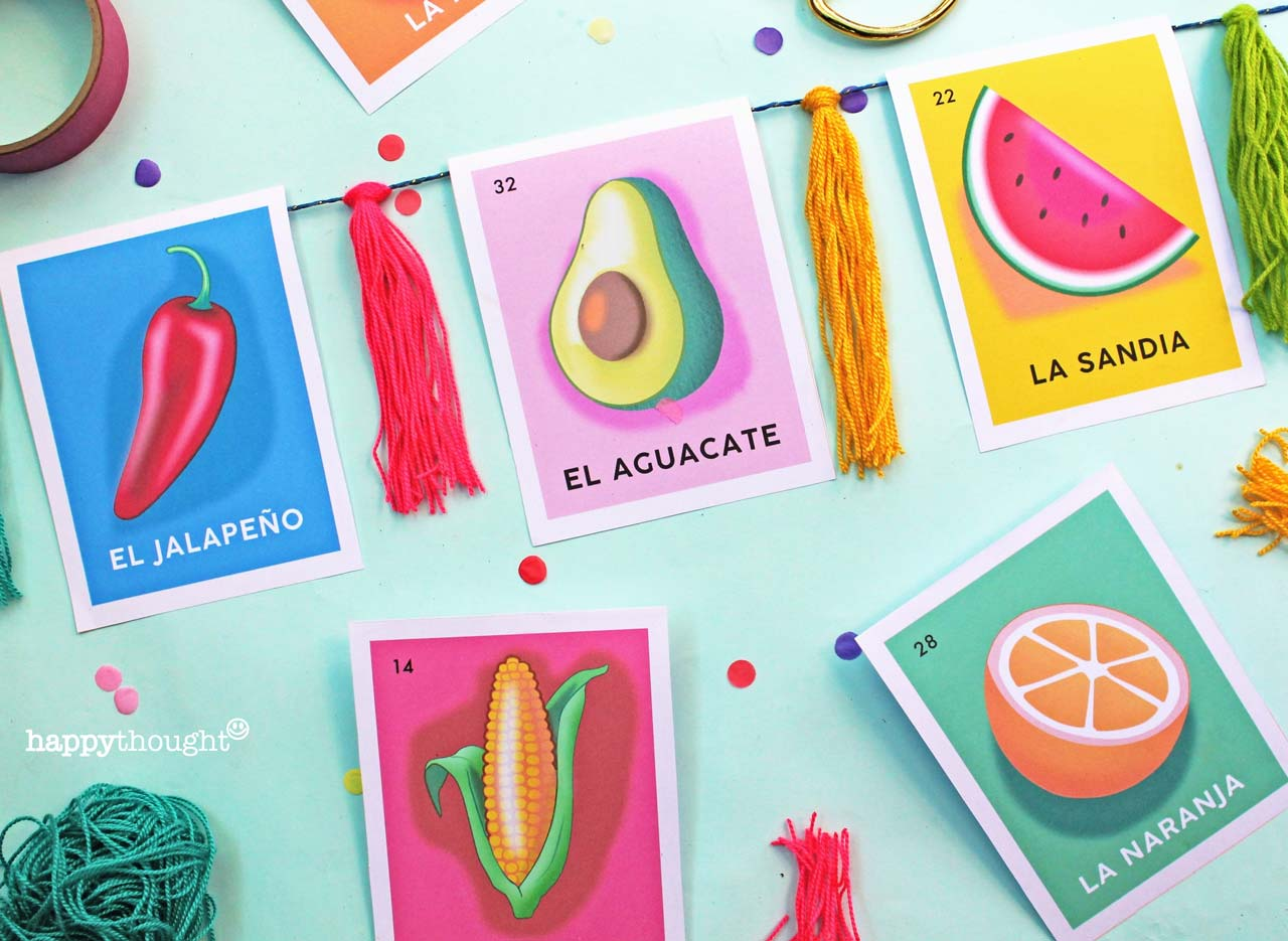 Make your own loteria garland printable template