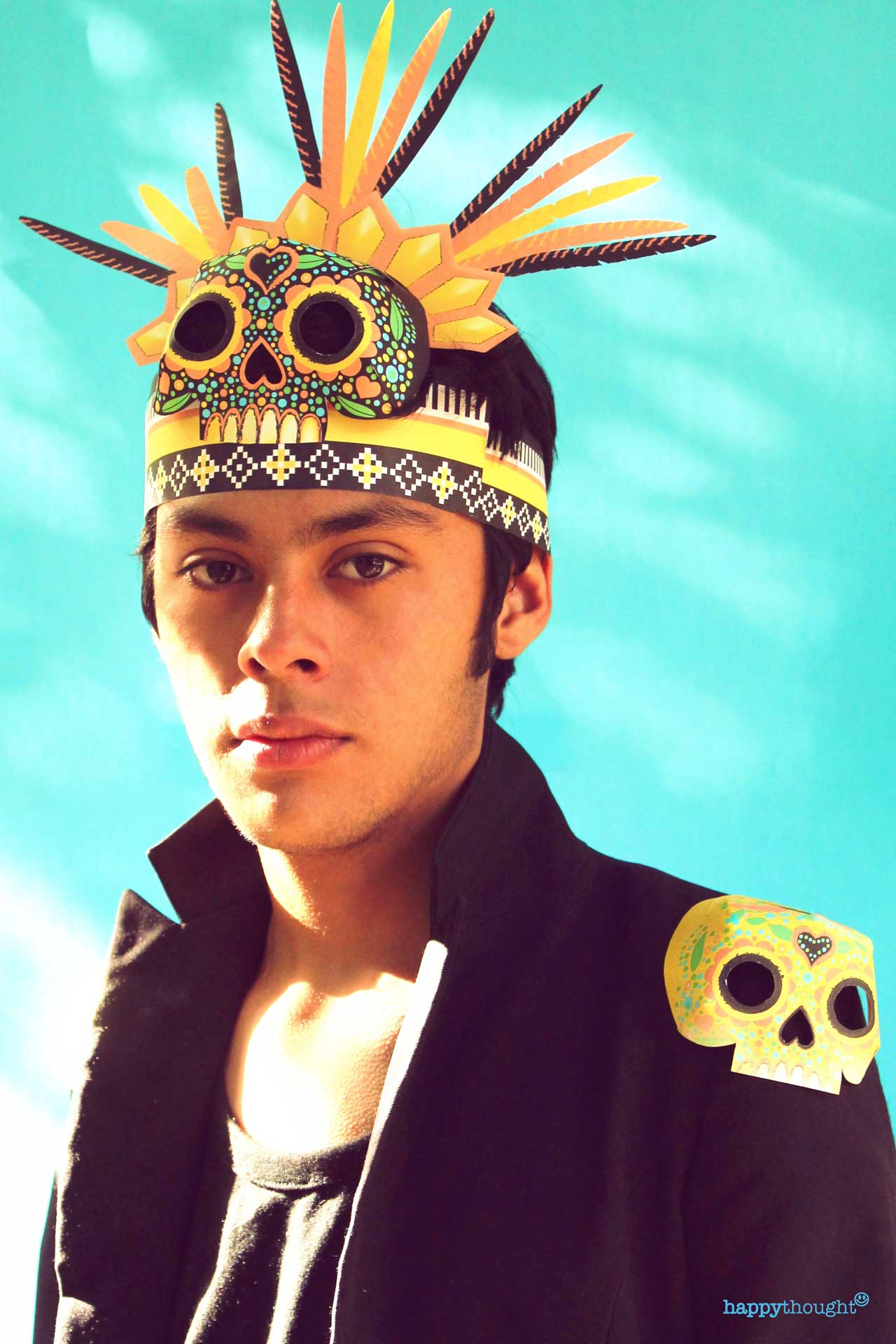 Make your own printable DIY chimalli headdress for a Day of the Dead celebration