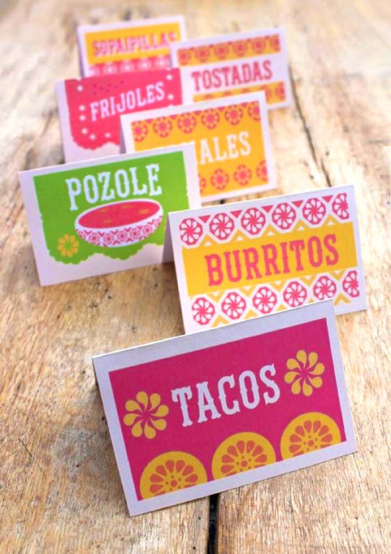 Mexican food and drink signs for fiestas - tacos burritos pozole tomales