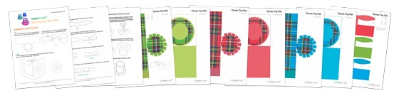 Burn night make mini tartan top hats patterns, cutouts and templates.