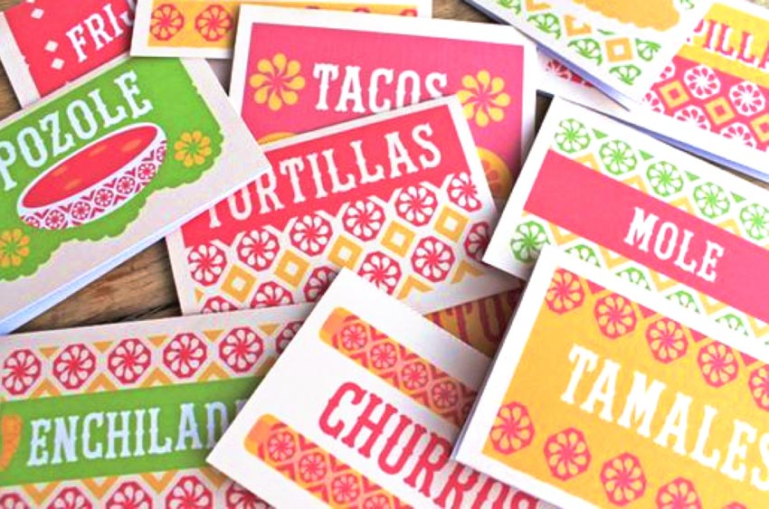 Printable DIY mole, tacos, pozole, tamales, enchiladas, churros, tortillas food signs