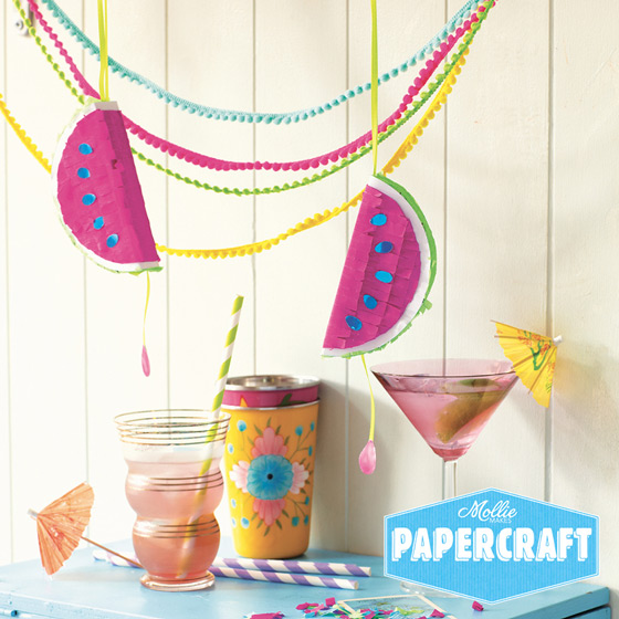 Mollie makes Papercraft projects: Watermelon pinata DIY!