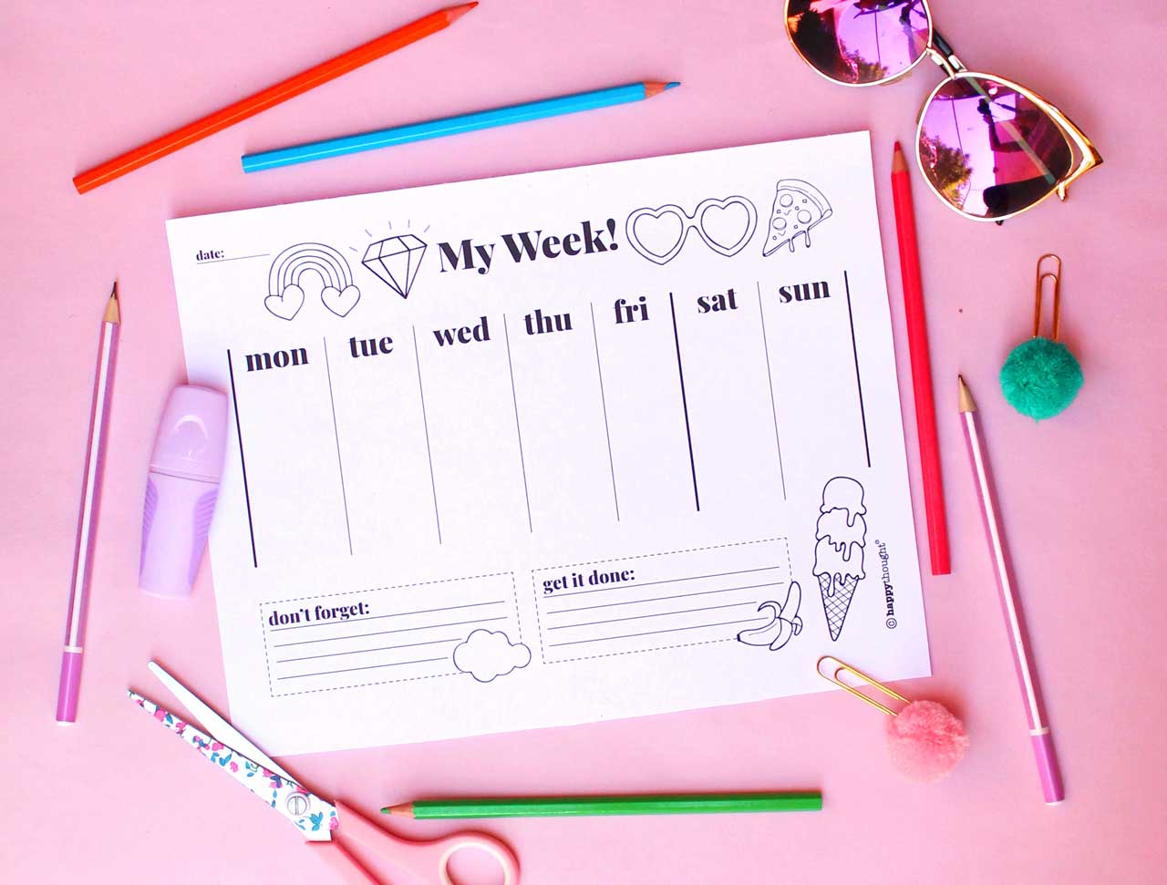My week colour in weekly planner to stay on top of things