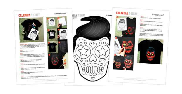 Paint your own Day of the Dead Calavera T-shirt template and tutorial
