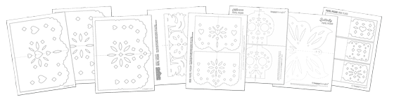 papel picado template designs for Dia de los muertos or Day of the Dead
