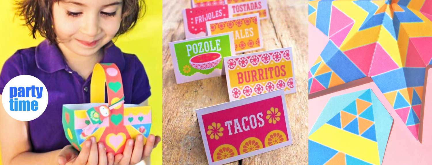 Party time fun - happythought printable Mexican food and drink signs, paper stars and easter baskets