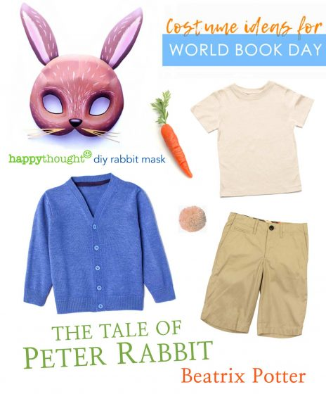 Peter Rabbit DIY printable mask with costume ideas from clothes at home