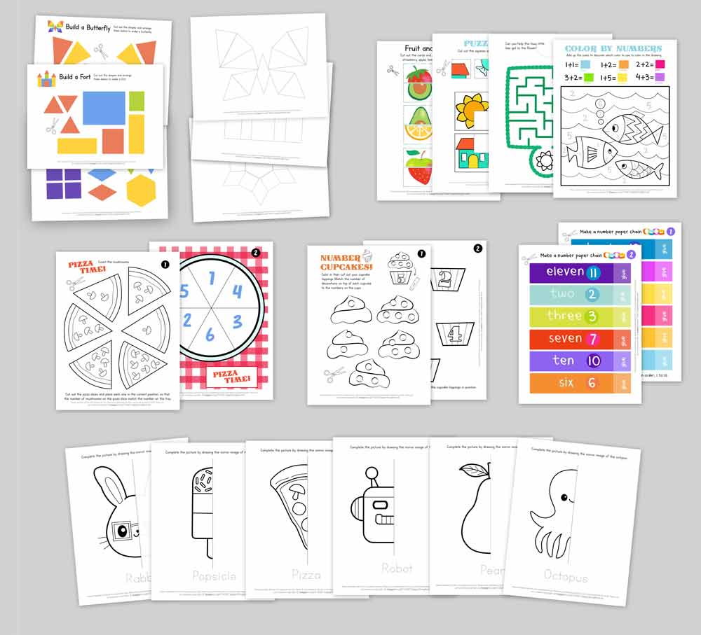 Pre school early learning homeschool classroom activity-sheets-pages