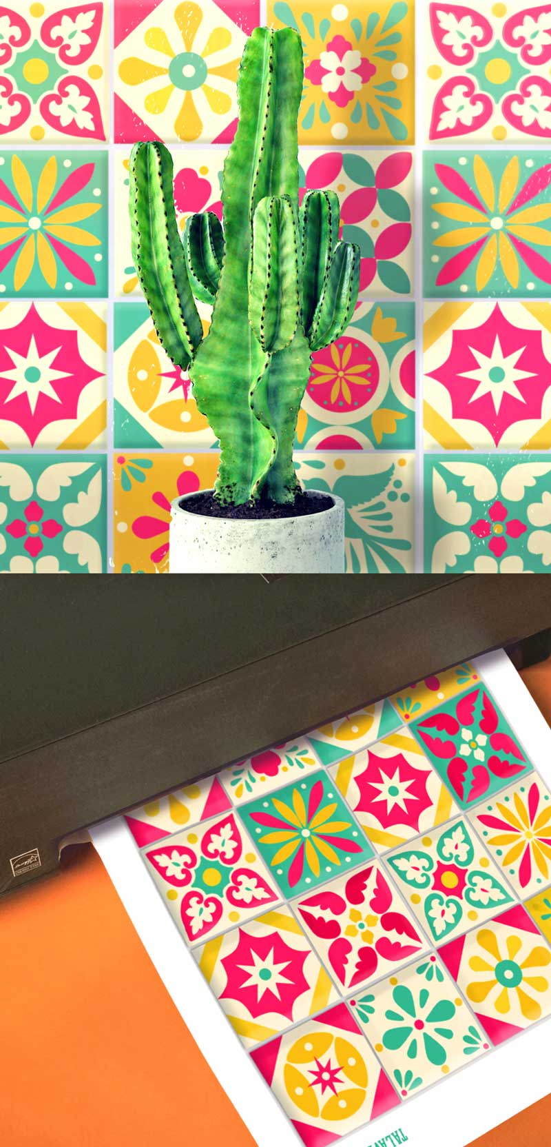 Printable DIY talavera tile designs and patterns-cactus