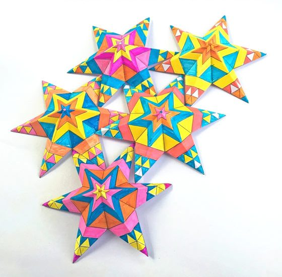 Easy and fun craft activity PDF worksheets to make a color in Mexican paper stars for 5 de Mayo!