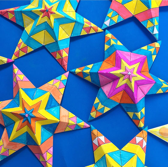 Hojas de actividades manuales imprimibles: ¡Haz y colorea estrellas de papel mexicanas para el Cinco de Mayo!