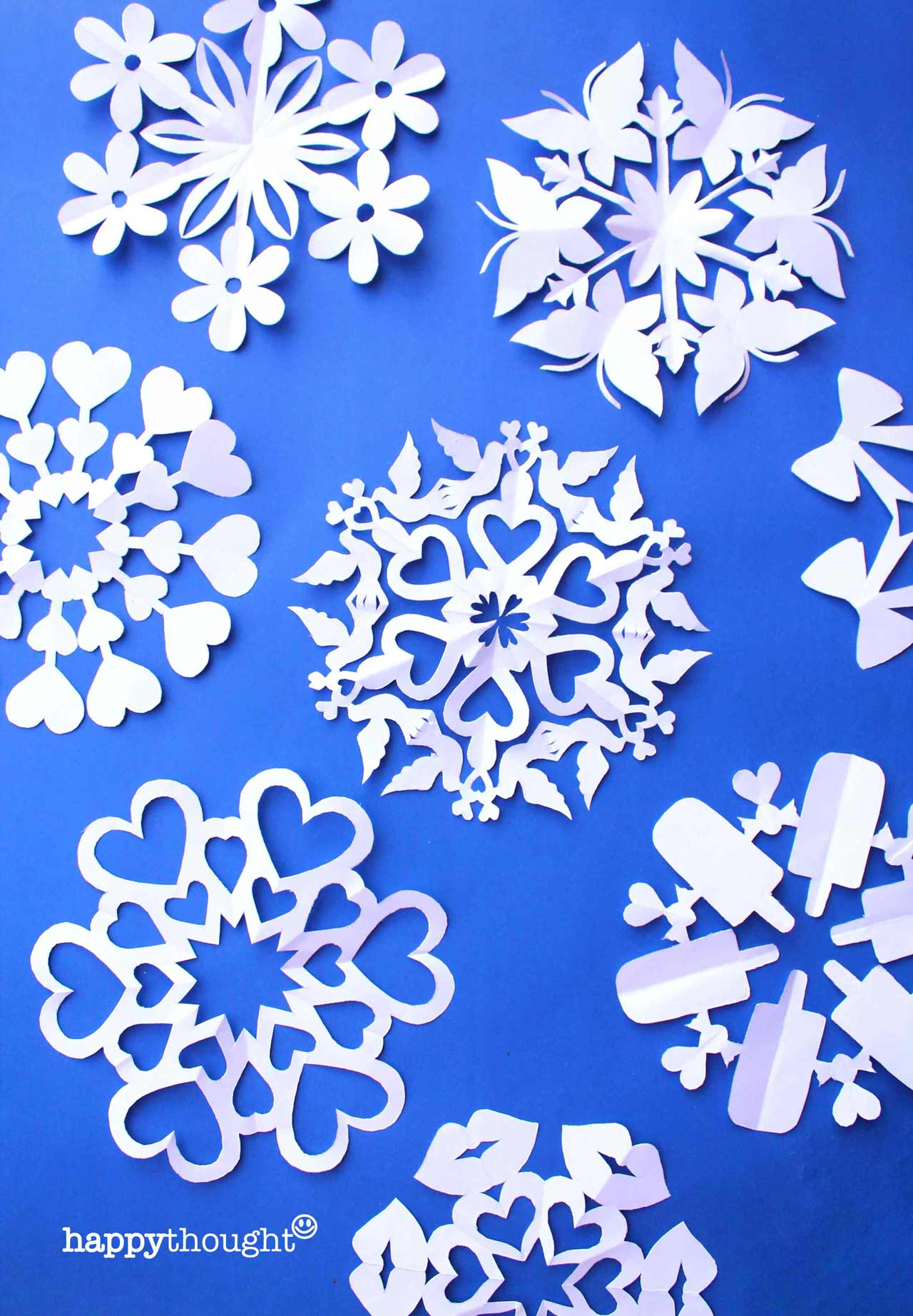 Snowflake templates to make DIY decorations for St valentines day