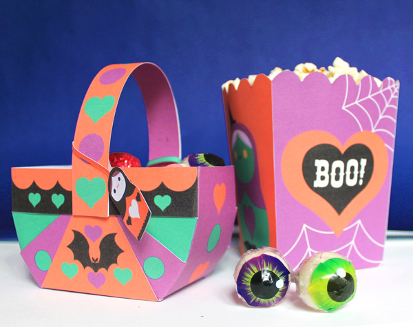 Spooky Halloween papercraft popcorn boxes and baskets. Homemade party decoration template ideas, patterns and cutouts!