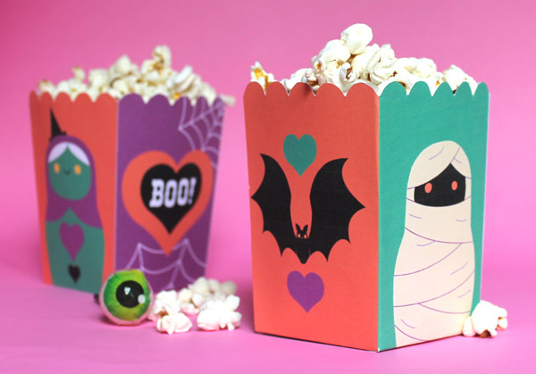 Spooky Halloween papercraft popcorn boxes. Homemade fiesta decoration ideas Download templates, activities, patterns and cutouts!