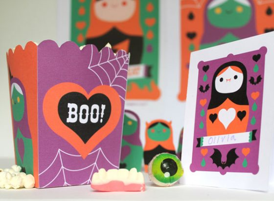 Spooky Halloween papercraft printable party templates, cutouts and patterns!