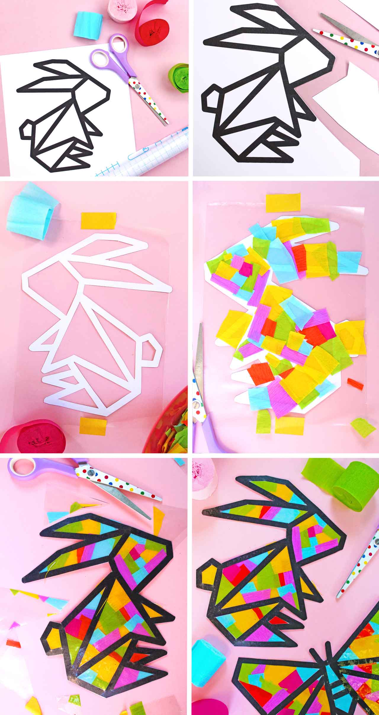 Springtime Sun catcher Easter bunny design step-by-step photo instructions