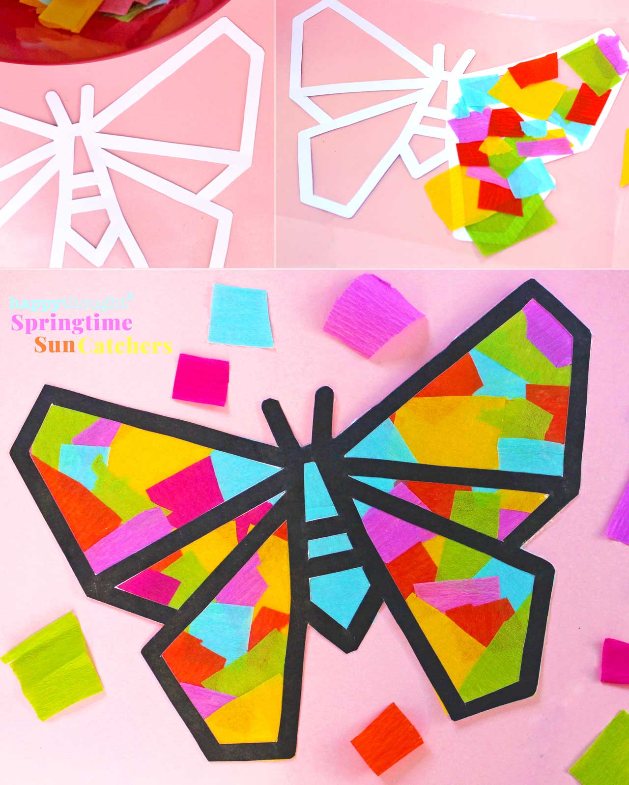 Springtime Sun catcher butterfly design step-by-step photo instructions and template
